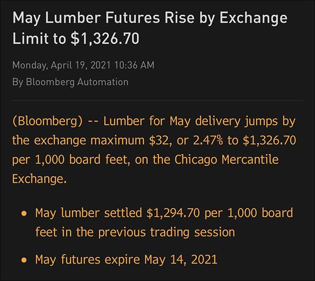 May Lumber Futures Rise by Exchange Limit