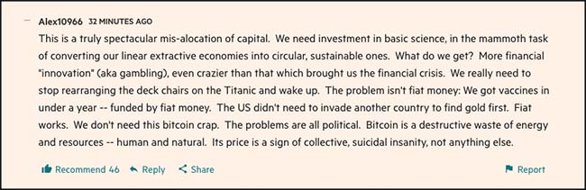 Comments on bitcoin