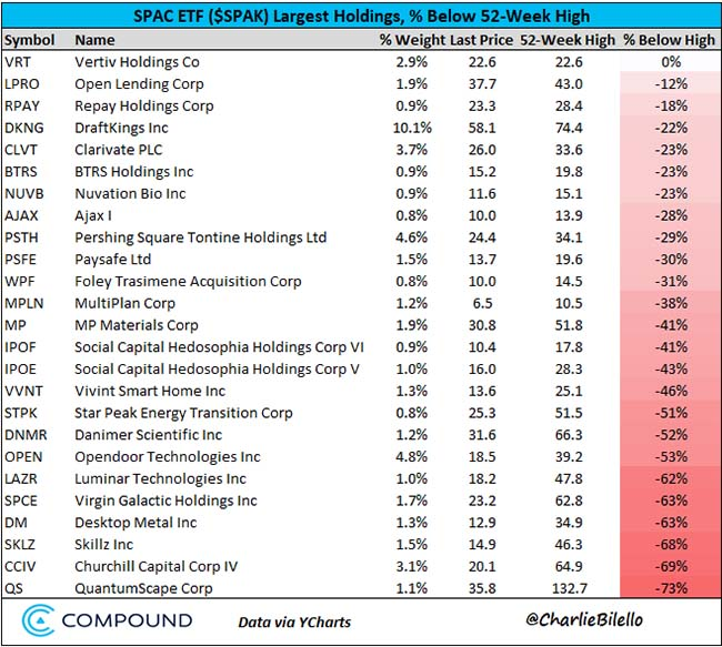 SPAC ETF Largest Holdings