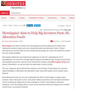 Morningstar Aims to Help Big Investors Parse Alt, Allocation Funds